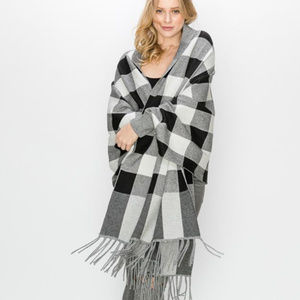 Buffalo Sleeve Cape Shawl with Fringe